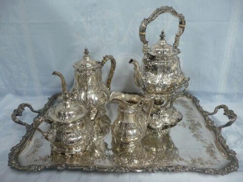 AMAZING GORHAM STERLING MONOGRAMMED TEA SET, CIRCA 1900, w/SILVER PLATE TRAY