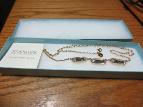 TOUCHSTONE JEWELRY  NECKLACE-GOLD WITH CLEAR STONES-NEW IN BOX