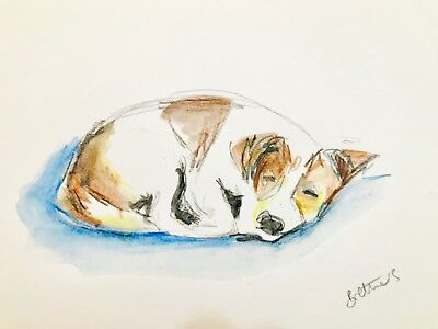 Watercolour print Jack russell terrier A5, A4 Greeting card