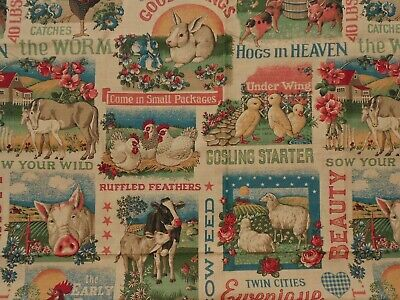 Vintage Farm Crate Advertising Animals Pigs Hens Cows Horse Craft Fabric Cotton