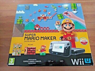 Nintendo Wii U Console Mario Maker Limited Edition Set - 32GB TESTED. VGC