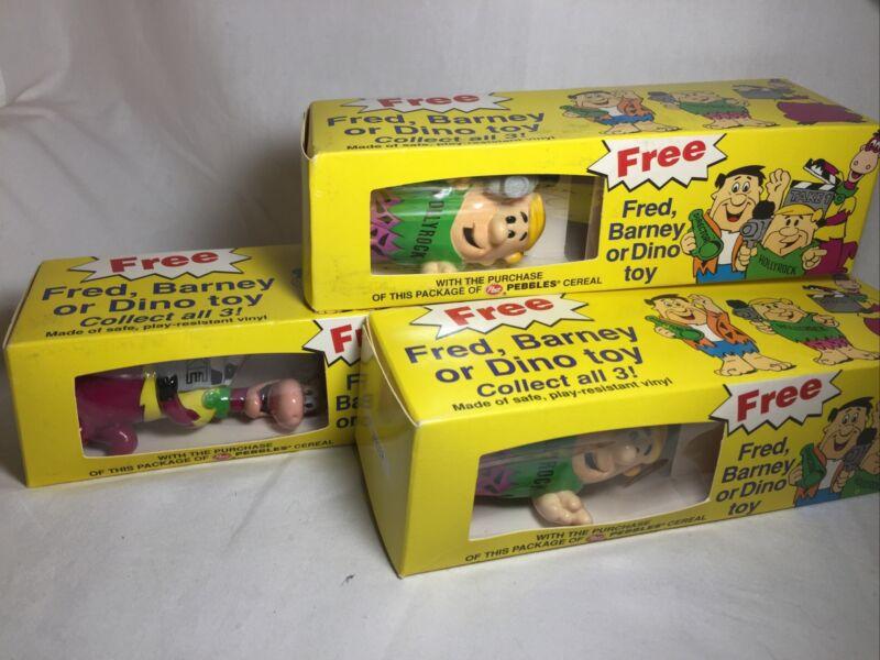 Vintage Flintstones Fred,Barney or Dino Post Pebbles Cereal Lot Of Three