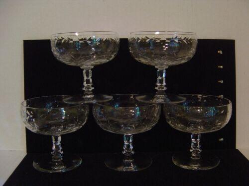 """VINTAGE SET OF FIVE CRYSTAL INTAGLIO CUT DESSERT OF SHERBET GLASSES 3-3/4"""" HIGH"""