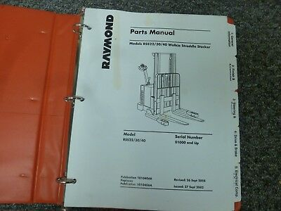 Raymond Rss22 Rss30 Rss40 Walkie Stacker Forklift Parts Catalog Manual 1000-up