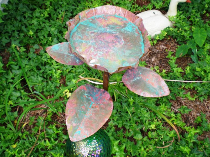 LILY PAD SHAPED BIRDBATH WITH PATINA - SOLID COPPER MADE IN USA WHEN PURCHASED