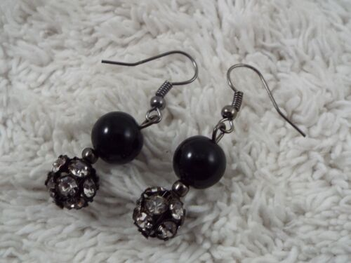 Gunmetal Rhinestone Black Bead Pierced Earrings (C4)