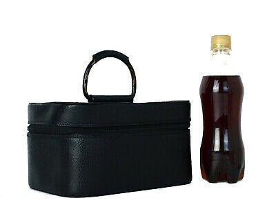 Auth Gucci Black Leather Vanity Bag Cosmetics Case Makeup Bag Purse Vintage Used