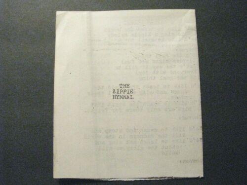 *1972 YIPPIES / ZIPPIES *THE ZIPPIE HYMNAL*- ANTI-WAR - PEACE – ABBIE HOFFMAN*