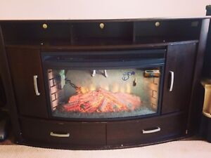 Tv stand with built-in fireplace