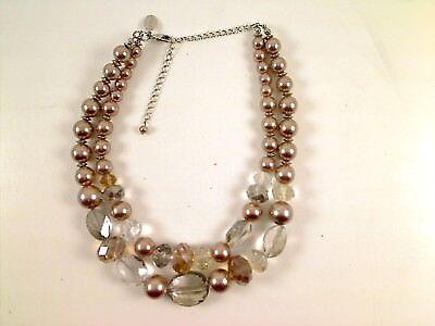 WHITE HOUSE BLACK MARKET CRYSTAL  FAUX PEARL Multi Strand NECKLACE adjustable