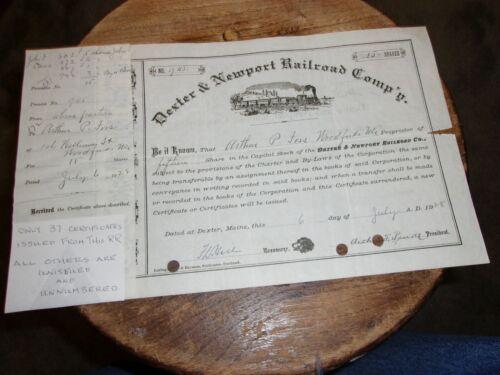 DEXTER & NEWPORT RAILROAD COMPANY STOCK CERT.  ONLY 37 ISSUED CERT.  1928