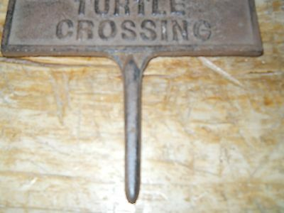 Купить Cast Iron TURTLE CROSSING Sign Garden Stake Home Decor Pond Plaque