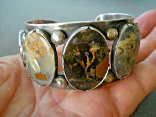 Rare Beautiful Native American Navajo Agate Row Sterling Silver Cuff Bracelet