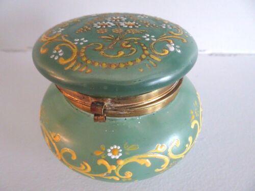 Antique Green Satin Glass BOHEMIAN Hinged Victorian Enameled TRINKET DRESSER BOX