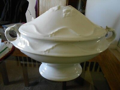 Antique Ironstone White Soup Tureen 9X13 Good Condition