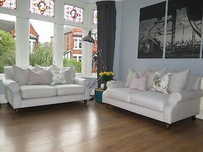 Off White Pillow Back DFS SOFA WORKSHOP Ellie 2 Seater Sofas x 2