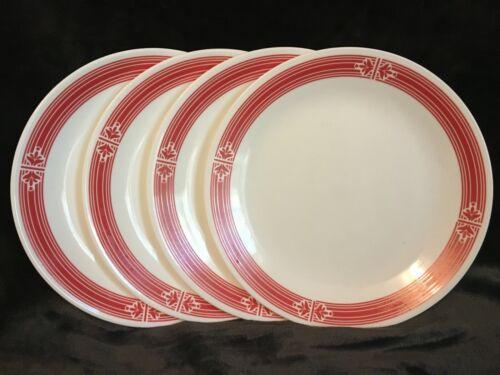 "Corelle PRAIRIE GARDEN RED Dinner Plates Red Bands Rings 10.25"" EUC - Set of 4"