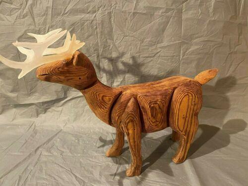 Handcrafted Wooden Moose Figurine Sculpture