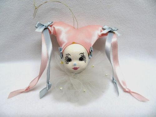 Vintage Porcelain & Pink Satin Clown Christmas Ornament