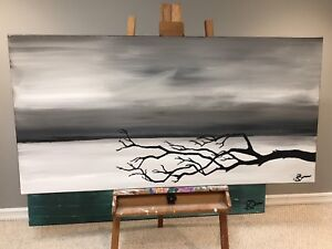 Original Abstract Painting on large Canvas 5' x 30""