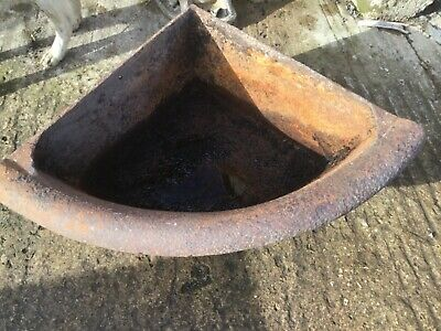 Antique cast iron rolled top corner feed trough