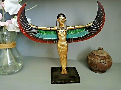 Decorative Gold Egyptian Winged Standing Isis Figurine Ethnographic Ornament