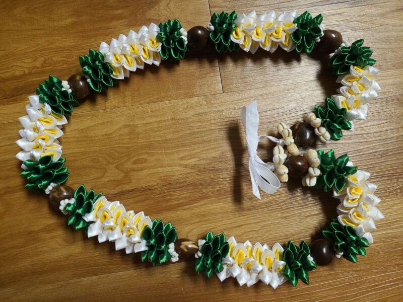 Grad Wedding Hawaiian Green Ti Leaf White Flower Kukui Nut Rosebud Ribbon Lei