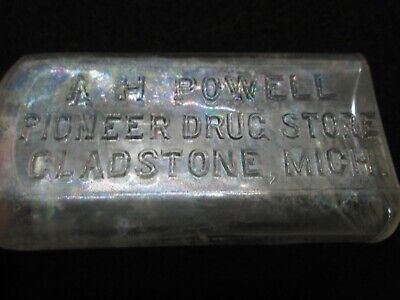 Apothecary Bottle A. H. Powell, Pioneer Drug Store, Gladstone, Michigan  (Powell Store)