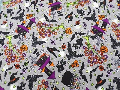 100% Cotton Fabric, Halloween Themed Pattern , BTY, Off Bolt