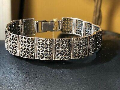 Vintage  925 sterling silver marcasite filigree bracelet. 7