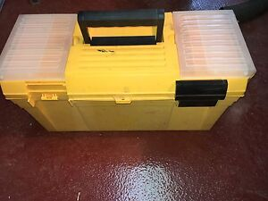 Plastic tool box with tray