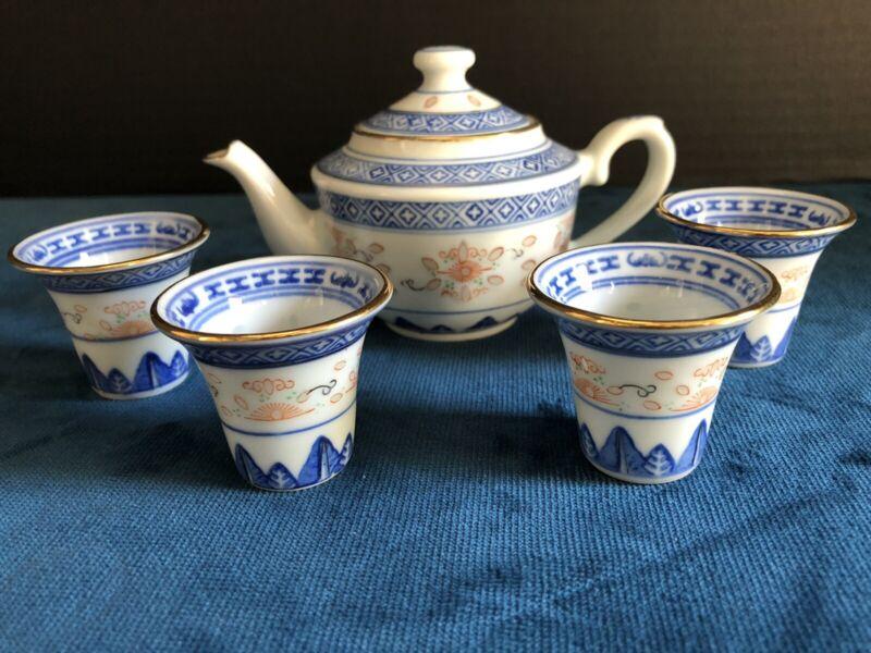 Chinese Jingdezhen Rice Eyes Grain Porcelain Miniature 5 Piece Tea Set