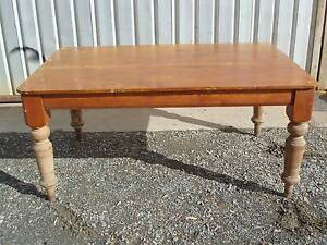 ANTIQUE PINE KITCHEN DINING TABLE TURNED LEGS RUSTIC