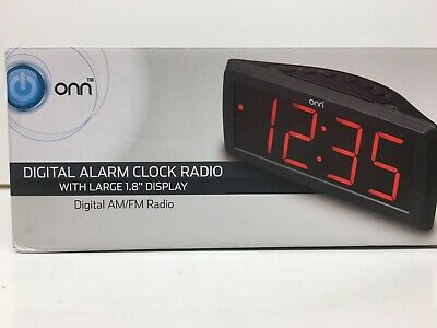 ONN AM/FM Digital Alarm Clock Radio Large 1.8 Display Battery Back Up Snooze