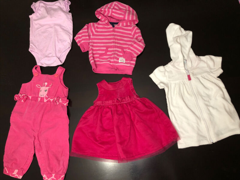 Gap Gymboree Carters 6-12 Months Lot 5 Baby Girl Dress Pool Coverup Overalls  3