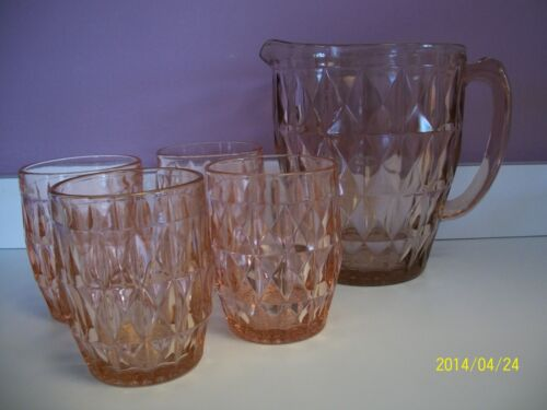 Windsor Diamond PINK - 52 oz. Pitcher & 4 Tumblers by Jeannette 1936 - 46