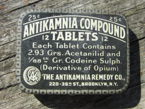 RARE Antique ANTIKAMNIA Tablets Tin - 25 Cent Vest Pocket Size - Mint NOS Condtn