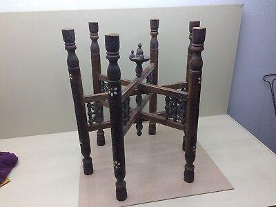 Vintage Arabesque Engraved Carved Wood Table - (Arabesque Wood)