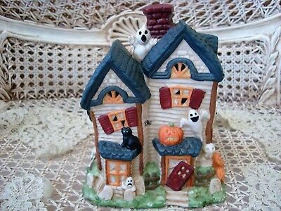 HALLOWEEN VILLAGE HOUSE DECORATED WITH GHOSTS, PUMPKINS, BLACK CATS & SKULLS