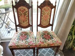 Antique hand carved wood velvet Dining Chairs