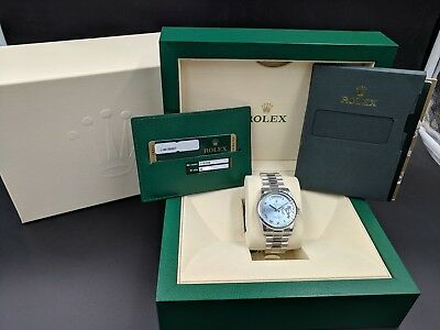 Rolex Day-Date 36MM Platinum President Glacier Blue Brand New w/ B&P LussoTime