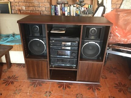 Stereo with tape cassette and record player