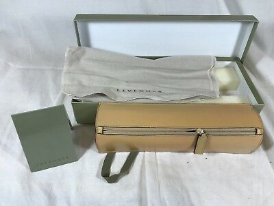 Levenger Leather Weighted Pen Pencil Case Neutral Beige Tan Zip Box Dust Cloth