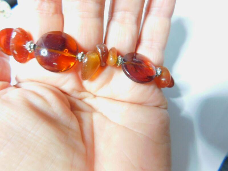 Amber Colored Glass Beaded Bracelet Vintage
