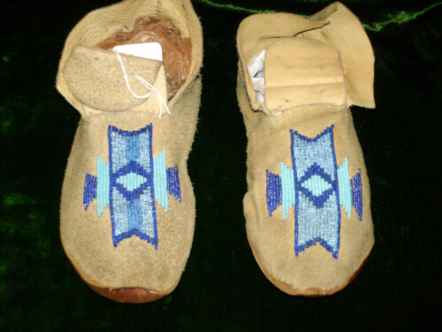Pair of Northern Plains Moccasins 9 inch