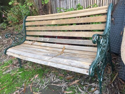 Beautiful Restored Cast Iron Garden Bench Seat Setting  Outdoor