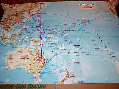Continental Airlines Route Map Micronesia International Travel Poster