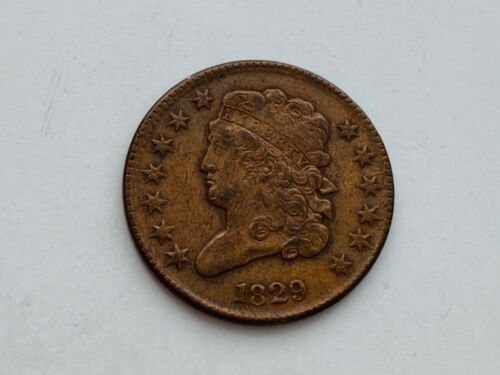 1829 Classic Head Copper Half Cent Early Philadelphia Mint Coin Pleasant Surface