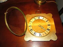 Vintage Scrolled Brass Germany Keinzle Automatic Wall Hanging Clock Mid Century