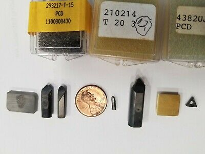 Cbn Carbide Pcd Insert Assort 7 Pieces Total W2 Free Taps - New Old Stock